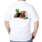 Airedale at the Beach by Vampire Dog Golf Shirt