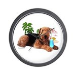 Airedale at the Beach by Vampire Dog Wall Clock