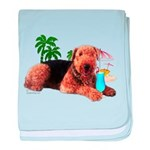 Airedale at the Beach by Vampire Dog baby blanket