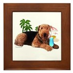 Airedale at the Beach by Vampire Dog Framed Tile