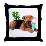 Airedale at the Beach by Vamp Throw Pillow