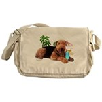 Airedale at the Beach by Vamp Messenger Bag