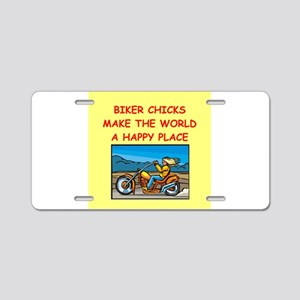 biker chicks Aluminum License Plate