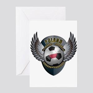 Polish soccer ball with crest Greeting Card