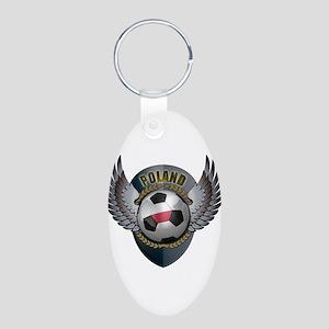 Polish soccer ball with crest Aluminum Oval Keycha