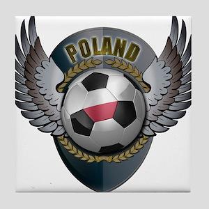 Polish soccer ball with crest Tile Coaster