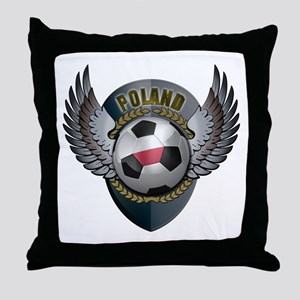 Polish soccer ball with crest Throw Pillow