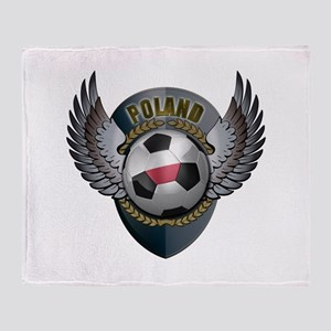 Polish soccer ball with crest Throw Blanket