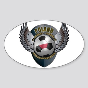 Polish soccer ball with crest Sticker (Oval)