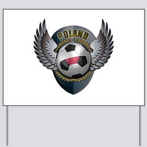 Polish soccer ball with crest Yard Sign