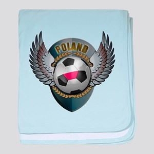 Polish soccer ball with crest baby blanket