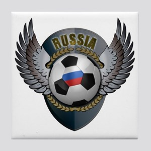 Russian soccer ball with crest Tile Coaster