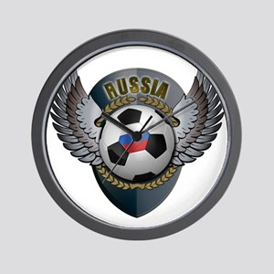 Russian soccer ball with crest Wall Clock