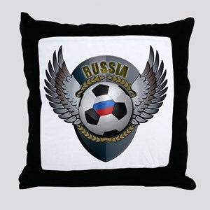 Russian soccer ball with crest Throw Pillow