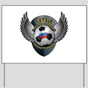 Russian soccer ball with crest Yard Sign