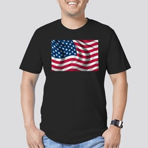 American Flag Men's Fitted T-Shirt (dark)