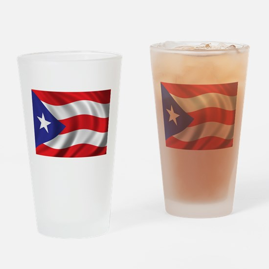 Flag of Puerto Rico Drinking Glass