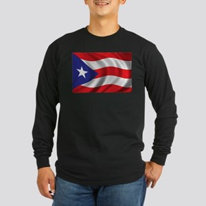 Flag of Puerto Rico Long Sleeve Dark T-Shirt