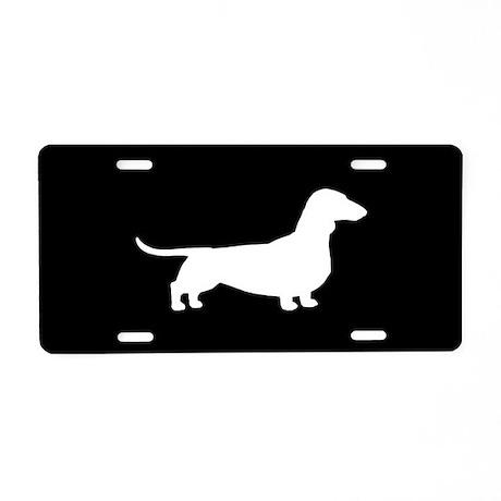 Dachshund Silhouette Aluminum License Plate