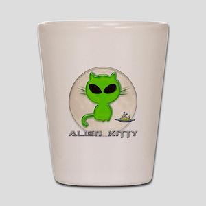 alien kitty Shot Glass