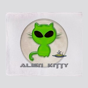 alien kitty Throw Blanket