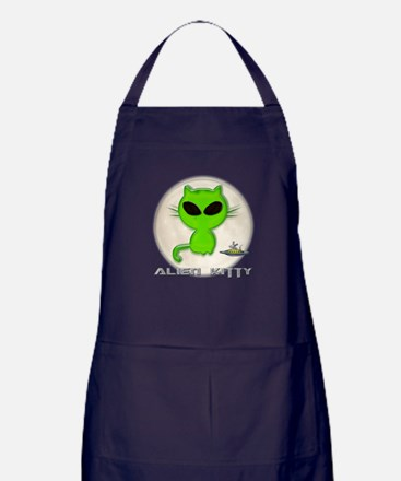 alien kitty Apron (dark)