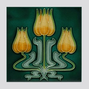 Three Yellow Tulips Tile Coaster