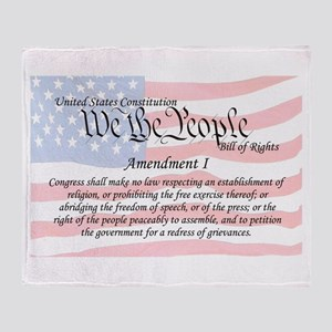 Amendment I and Flag Throw Blanket