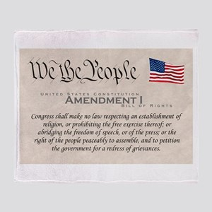 Amendment I w/Flag Throw Blanket