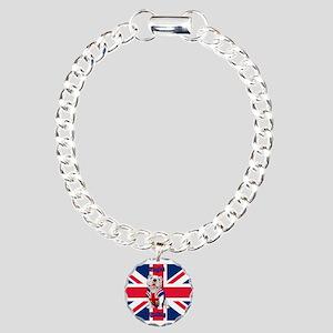 Union Jack English Bulld Charm Bracelet, One Charm