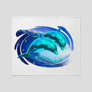 dolphin surf Throw Blanket