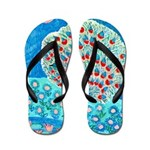 Daisy and Peacock Feather Flip Flops