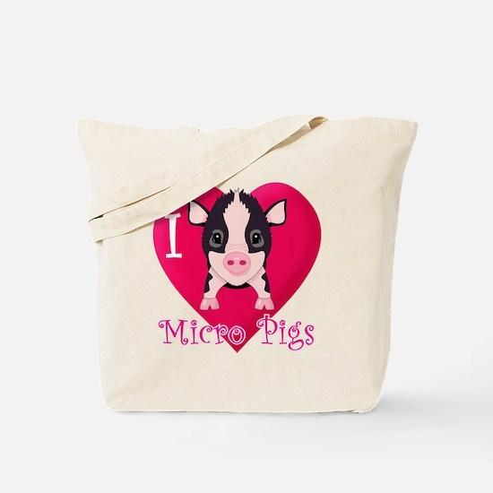 I Love Micro Pigs Tote Bag