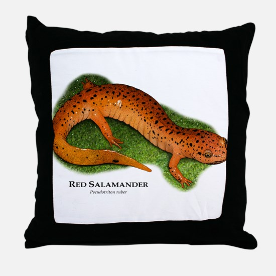 Red Salamander Throw Pillow