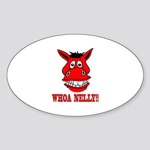 Horse Says Whoa Nelly Sticker (Oval)