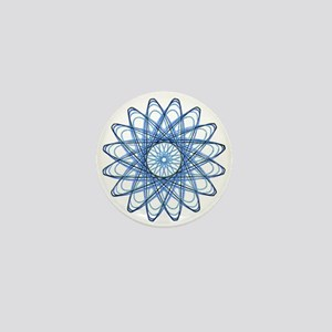 Blue Spirograph Rose Mini Button