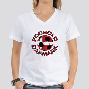 Danmark Denmark Football Fodb Women's V-Neck T-Shi