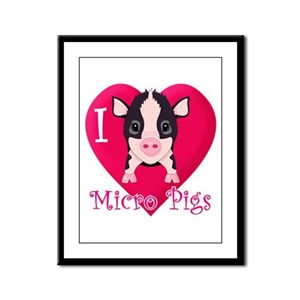 I Love Micro Pigs Framed Panel Print
