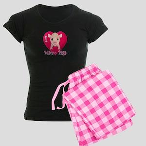 I Love Micro Pigs Women's Dark Pajamas