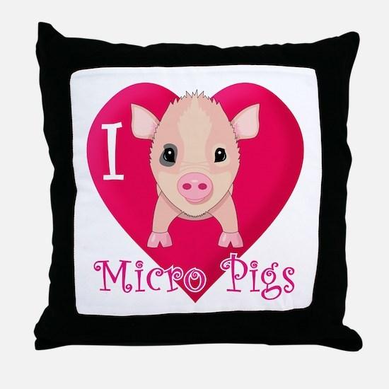 I Love Micro Pigs Throw Pillow