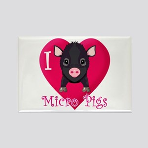 I Love Micro Pigs Rectangle Magnet