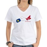 Acadian Flag Nova Scotia Women's V-Neck T-Shirt