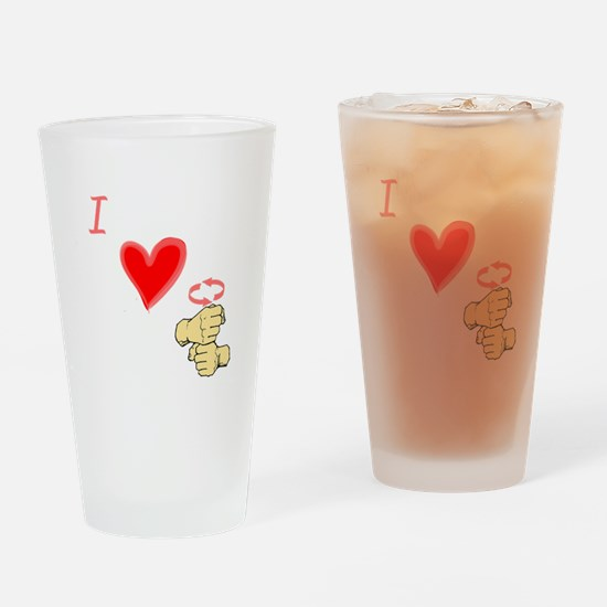 I Love Coffee in ASL Drinking Glass