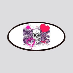 Biker Girl Pink Hearts and Skulls Patches