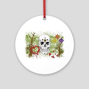 Biker Girls Skulls & Hearts Ornament (Round)