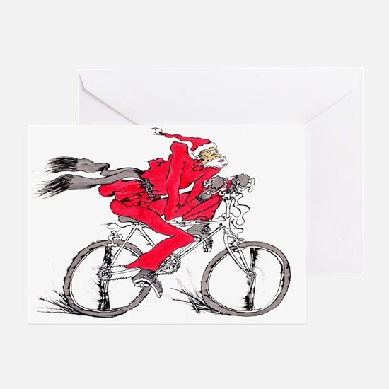 Santa on a Bicycle Christmas Greeting Card