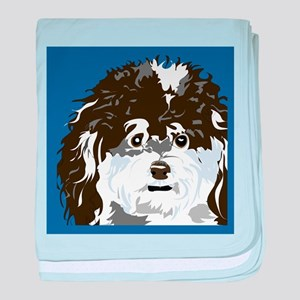 BLACK WHITE BLUE POODLE baby blanket