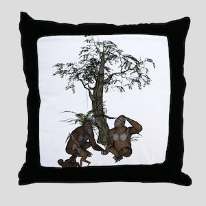 Gorilla Family Throw Pillow