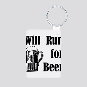 Will Run for Beer Aluminum Photo Keychain