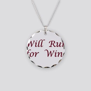 Will Run for Wine Necklace Circle Charm
